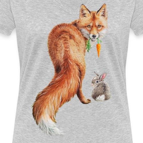 vegan fox with bunny - Women's Organic V-Neck T-Shirt by Stanley & Stella