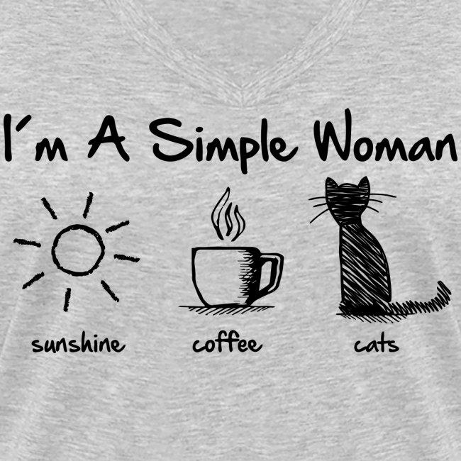Vorschau: simple woman cats - Frauen Bio-T-Shirt mit V-Ausschnitt von Stanley & Stella