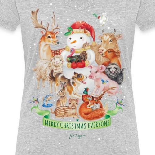 vegan-christmas-green - Women's Organic V-Neck T-Shirt by Stanley & Stella