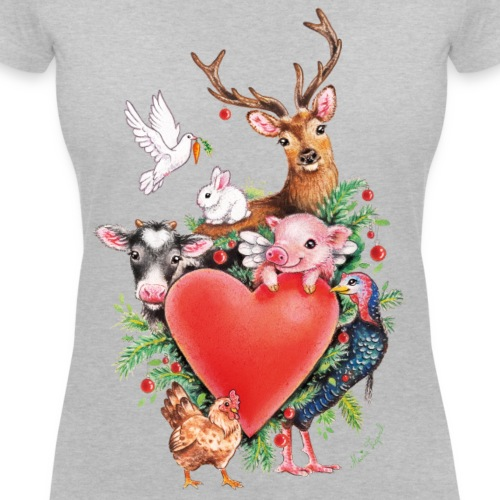 Christmas heart by Maria Tiqwah - Women's Organic V-Neck T-Shirt by Stanley & Stella