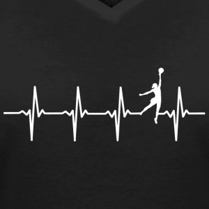 Volleyball - heart beat motif - Women's V-Neck T-Shirt
