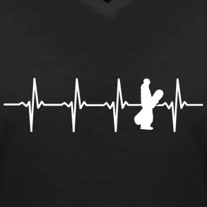 Snowboard heart beat motif - Women's V-Neck T-Shirt