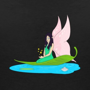 Fairy swims on a leaf in the pond - Women's V-Neck T-Shirt