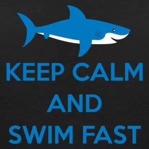 Simning / float: Keep Calm and Swim Snabb - T-shirt med v-ringning dam