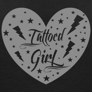 tattoed_girl_grey - T-shirt med v-ringning dam