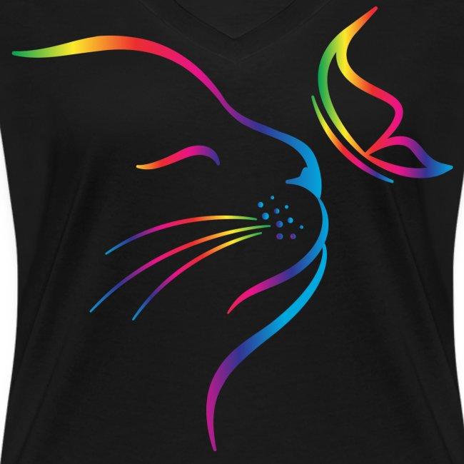 Vorschau: rainbow butterfly cat - Frauen Bio-T-Shirt mit V-Ausschnitt von Stanley & Stella