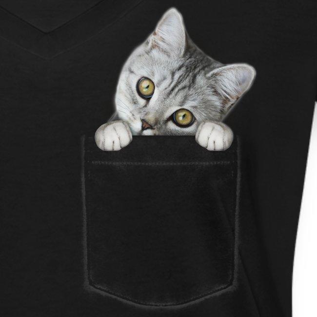 Vorschau: cat pocket - Frauen Bio-T-Shirt mit V-Ausschnitt von Stanley & Stella