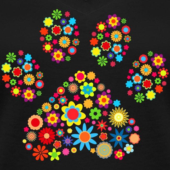 Vorschau: flower dog paw cat - Frauen Bio-T-Shirt mit V-Ausschnitt von Stanley & Stella