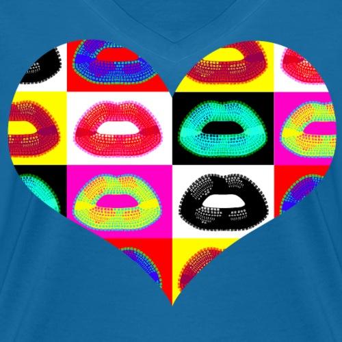 popartcontest coeur bouches - T-shirt bio col V Stanley & Stella Femme