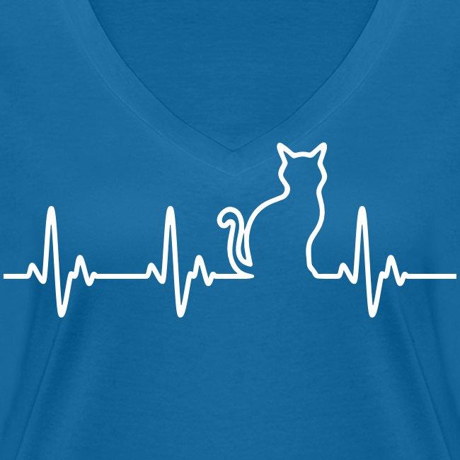 Vorschau: Ein Herz für Katzen - Frauen Bio-T-Shirt mit V-Ausschnitt von Stanley & Stella