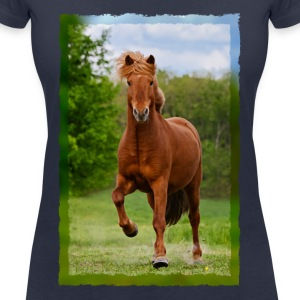 Icelandic horse running in tölt over meadow horse photo - Women's V-Neck T-Shirt