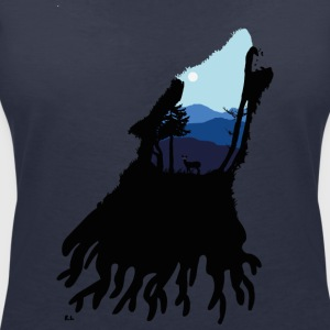 Howling Wolf - Women's V-Neck T-Shirt