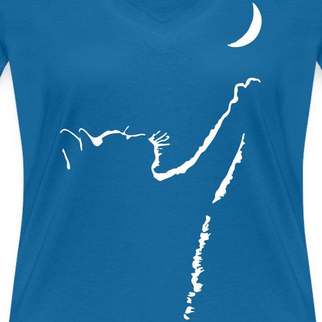 Vorschau: cat moon - Frauen Bio-T-Shirt mit V-Ausschnitt von Stanley & Stella