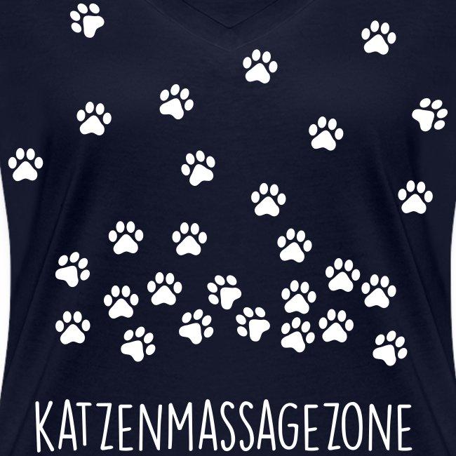 Vorschau: Katzen Massage Zone - Frauen Bio-T-Shirt mit V-Ausschnitt von Stanley & Stella
