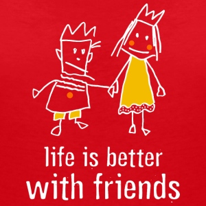 life is better with friends König Prinzessin Krone - Frauen T-Shirt mit V-Ausschnitt