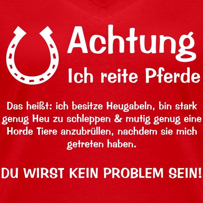 Vorschau: Achtung ich reite Pferde - Frauen Bio-T-Shirt mit V-Ausschnitt von Stanley & Stella