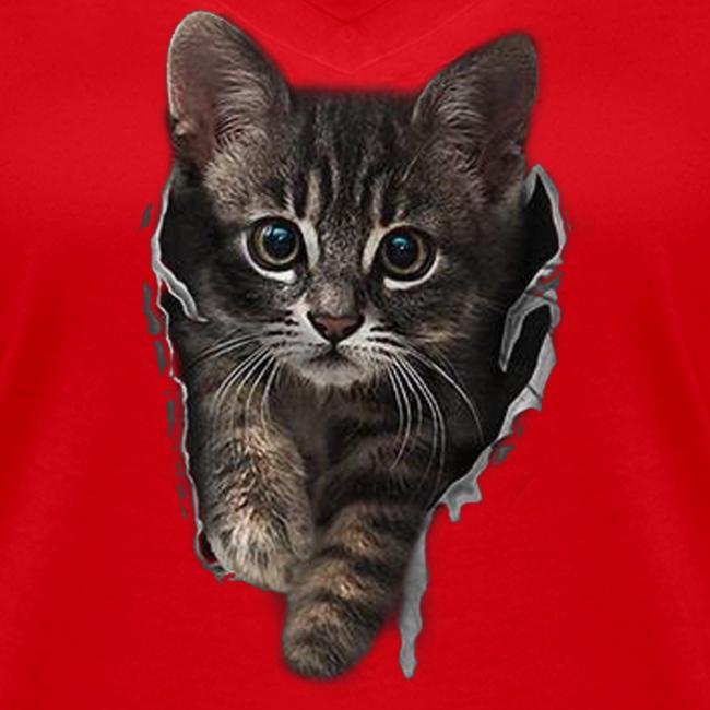Vorschau: Katze Riss - Frauen Bio-T-Shirt mit V-Ausschnitt von Stanley & Stella
