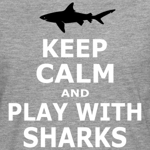 KEEP CALM AND PLAY WITH SHARKS - simple - Men's Premium Longsleeve Shirt