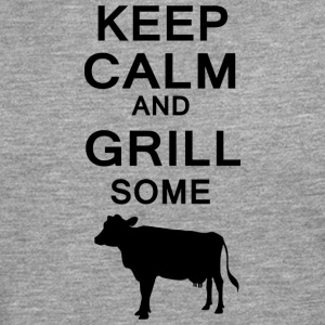 Keep Calm and grill noen kyr - Premium langermet T-skjorte for menn