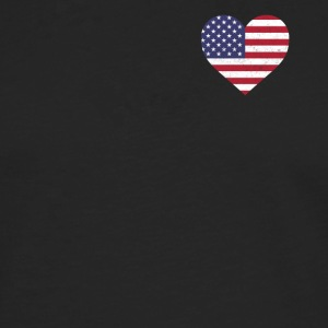 USA Flag Shirt Heart - American Shirt - Men's Premium Longsleeve Shirt