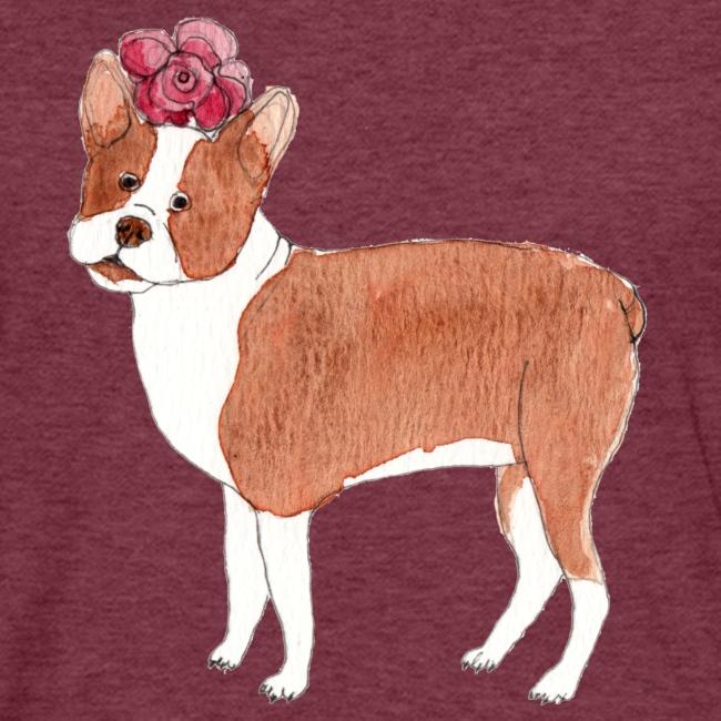 boston terrier with flower