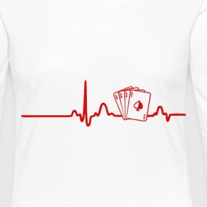 EKG Heart Line Poker, Cards - Women's Premium Longsleeve Shirt
