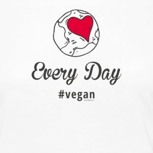 "Vegan T-Shirt ""Every Day # vegan"" (Slim Sølv) - Premium langermet T-skjorte for kvinner"
