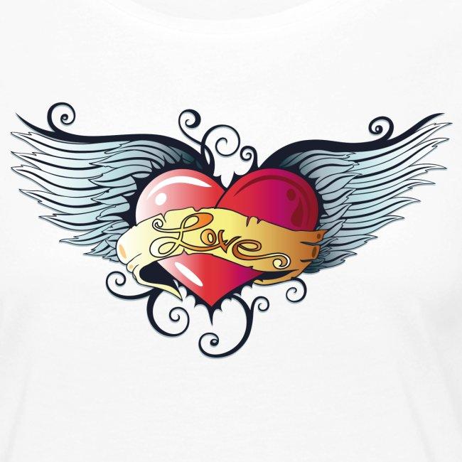 Grande Cuore Con Le Ali Stile Tatuaggio Maglietta Premium A Manica Lunga Da Donna Merch And Beauties