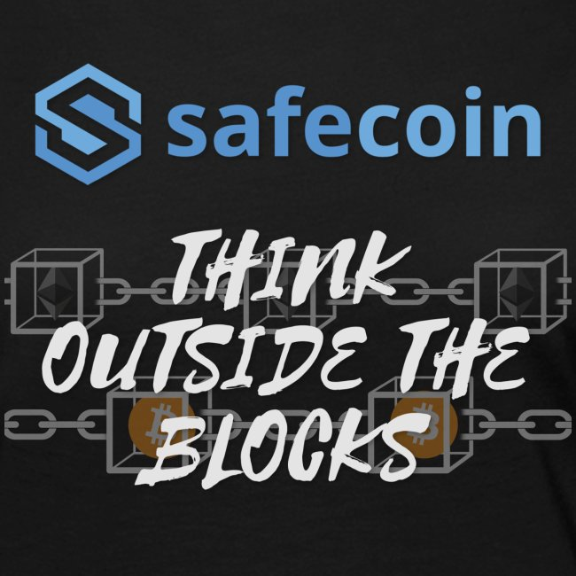 SafeCoin; Think Outside the Blocks (blue + white)