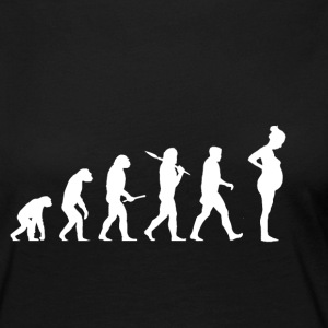 Evolution Gravide! Child! Graviditet! Baby! - Dame premium T-shirt med lange ærmer