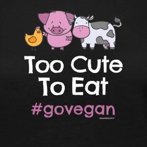 "Vegan Tshirt ""Too Cute at spise #GOVEGAN"" - Dame premium T-shirt med lange ærmer"