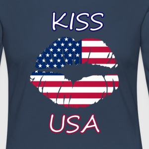 Kiss USA - Premium langermet T-skjorte for kvinner