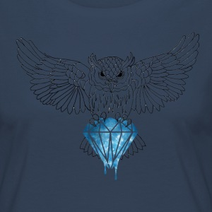 Dynamic Royal Owl V-Neck Tee - Women's Premium Longsleeve Shirt