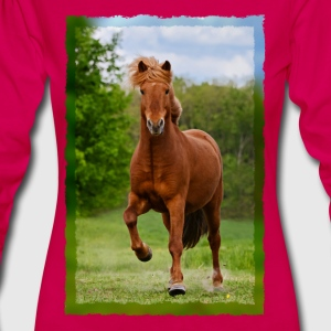 Icelandic horse running in tölt over meadow horse photo - Women's Premium Longsleeve Shirt