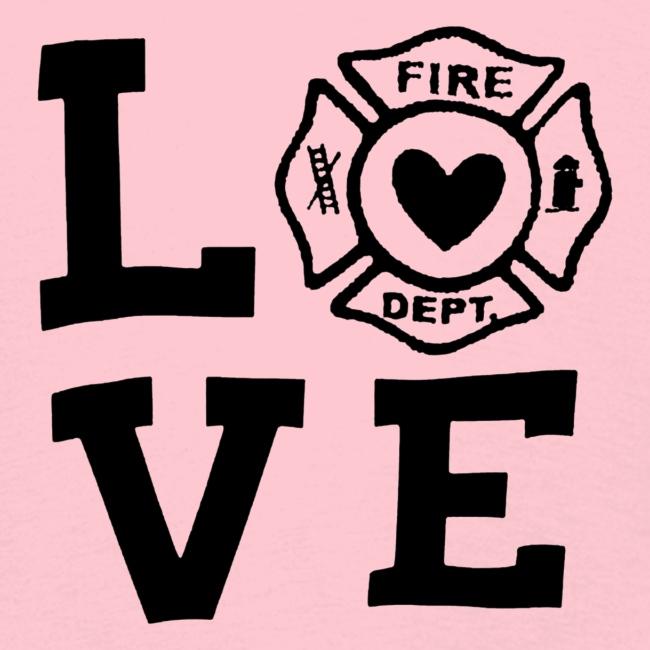 Black Design Love Firefighter
