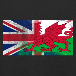 British Welsh Half Wales Half UK Flag - Långärmad premium-T-shirt barn