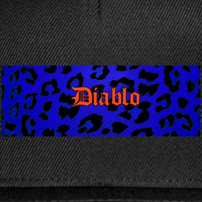 Diablo gotic lettering pattern blue leopard