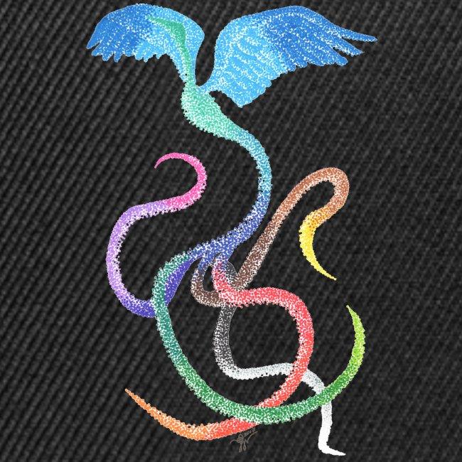 Gracieux - Oiseau arc-en-ciel à l'encre