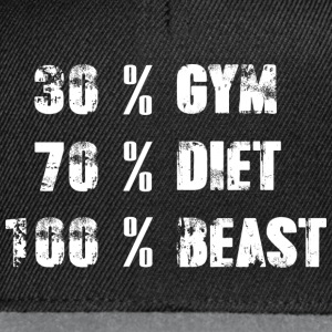 30% GYMNASE - 70% DIET - 100% BEAST - Casquette snapback