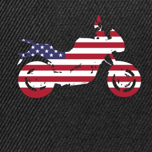 bike-usa motorcycle flag proud America travel vacation - Snapback Cap