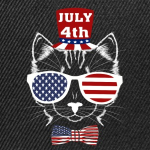 4th of July Meowica American Patriotic Funny Cat - Snapback Cap