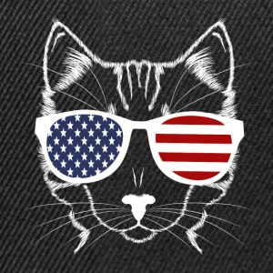 Meowica Funny American Cat With Sunglasses - Snapback Cap