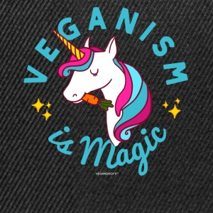 Vegan Unicorn T-skjorte - Veganisme er Magic (blå) - Snapback-caps