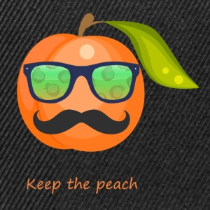 Glasses, mustache keep the peach - Snapback Cap