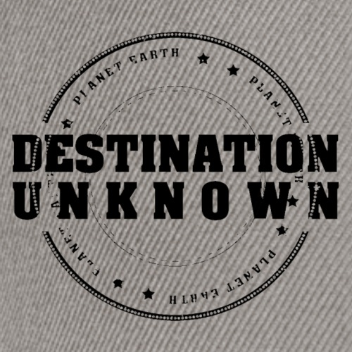 DESTINATION UNKNOWN logo with black text - Snapback Cap