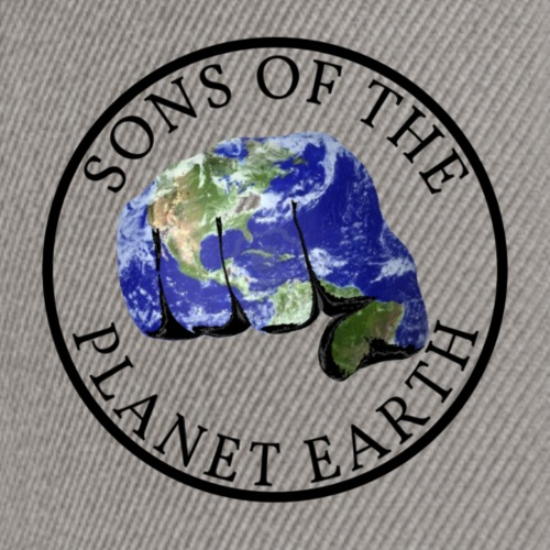 SONS OF THE PLANET EARTH black text no backround - Snapback Cap