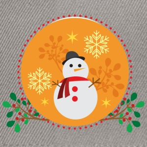 Snowman orange design - Snapback Cap