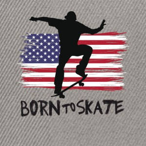 born to skate skateboard america flag destroyed 21 - Snapback Cap