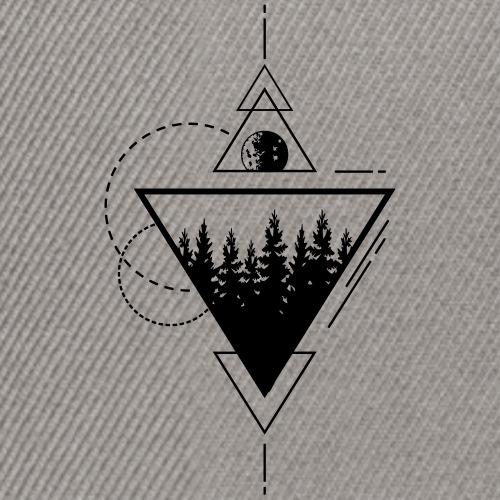 Geometrischer Wald mit Mond - Snapback Cap