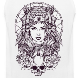 Native American Girl with Wolf Headdress - Men's Premium Tank Top